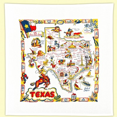 """Tabletop 22.0"""" Texas Flour Sack Towel State Map 100% Cotton Red And White Kitchen Company  -  Kitchen Towel"""
