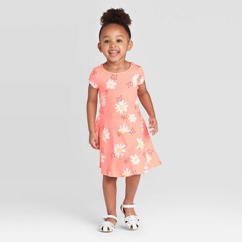 Toddler Girls' Daisy Print Dress - Cat & Jack™ Peach 18M - image 1 of 3