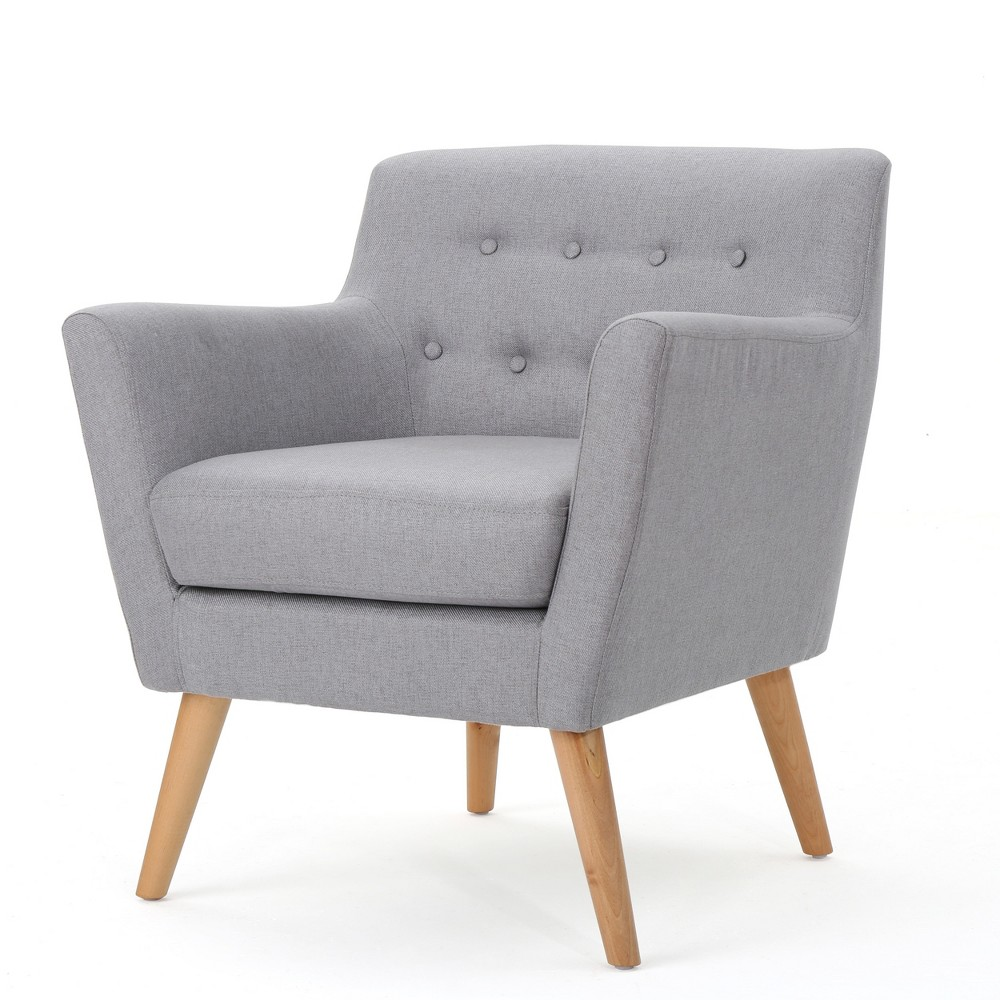 Meena Buttoned Mid-Century Club Chair - Light Gray - Christopher Knight Home