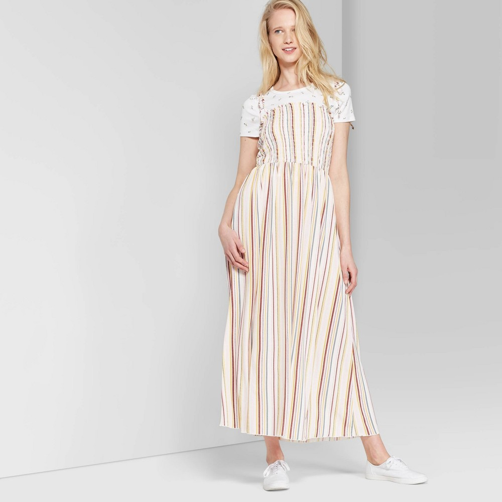 Women's Striped Sleeveless Tie Strap Smocked Top Maxi Dress - Wild Fable Cream/Rose L, White