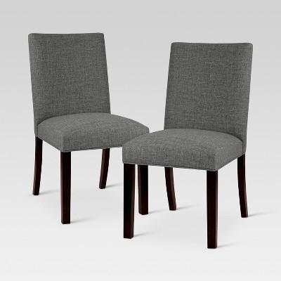 Textured Linen Parsons Dining Chair Charcoal 2pk Threshold Target Inventory Checker Brickseek