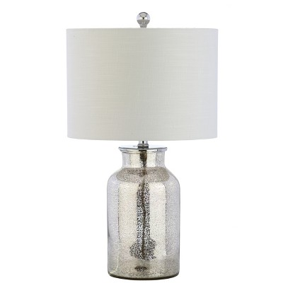 24.5  Esmee Mercury Glass LED Table Lamp Silver (Includes Energy Efficient Light Bulb)- JONATHAN Y