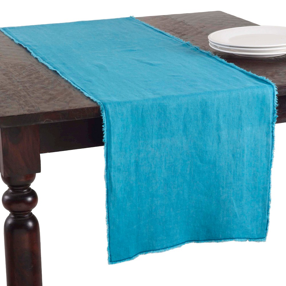 16 34 X72 34 Fringed Design Stone Washed Table Runner Ocean Blue Saro Lifestyle