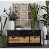 Farmhouse Wooden Chest with Wicker Basket Drawers Dark Brown - Olivia & May - image 3 of 4