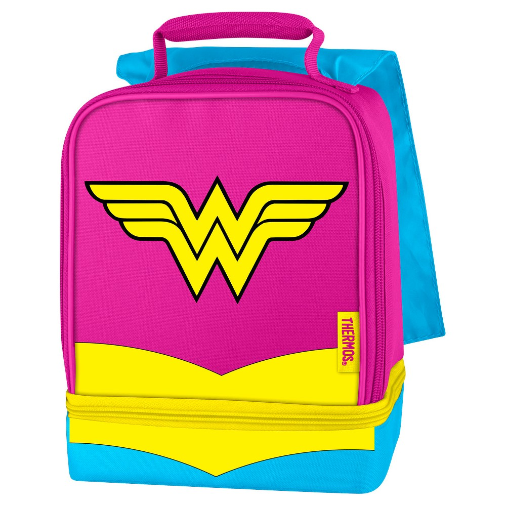 Thermos Genuine Thermos Brand Dual Compartment Lunch Box Assortment, Multicolored Lunchtime is more fun for your child when they can bring their favorite super heroes along. These dual compartment lunch kits from Genuine Thermos Brand are a great choice for kids to take their lunch to school. Decorated with bright colors, these lunch kits features a comfortable, padded carrying handle and premium foam insulation to keep lunches cooler and fresher. The dual compartments allow for storing items separately to help avoid crushing lunches. A cape detail makes this lunch kit extra fun. Color: Multicolored. Pattern: Superheroes.