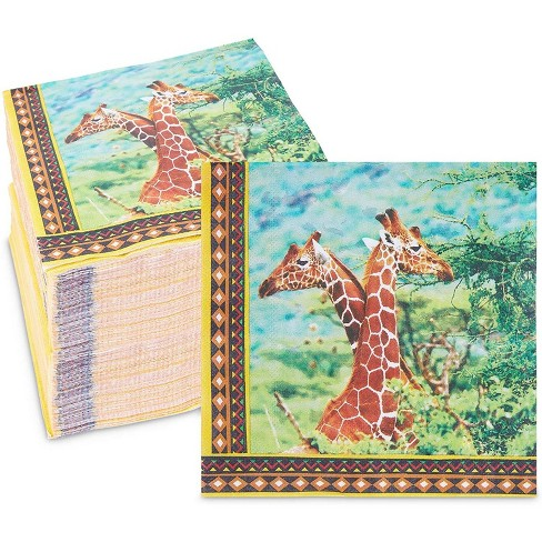 Sparkle And Bash 150 Pack Safari Birthday Party Disposable Paper Napkins With Giraffes 6 5 X 6 5 Inches Target