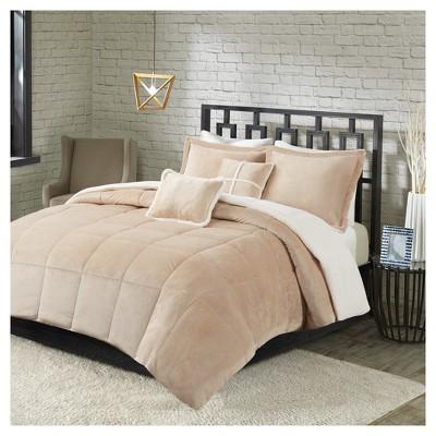Khaki Solid Velvet with Sherpa Reversible Comforter Set (Full/Queen)5pc