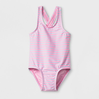 Baby Girls' Striped One Piece Swimsuit - Cat & Jack™ Pink 18M