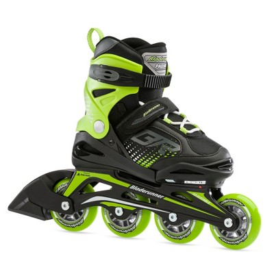 Rollerblade Bladerunner Phoenix Boys Outdoor Adjustable Inline Roller Skates, 2 thru 6, Black/Green