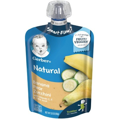 Gerber Toddler Banana Pear Zucchini Squeezable Puree - 3.5oz