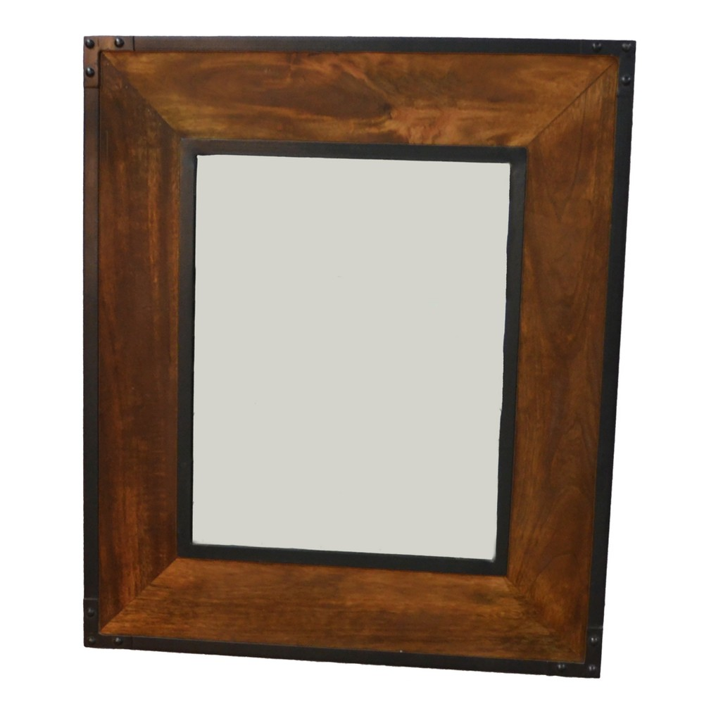 Image of Luka Wall Mirror Chestnut/Black (Brown/Black) - Carolina Chair & Table