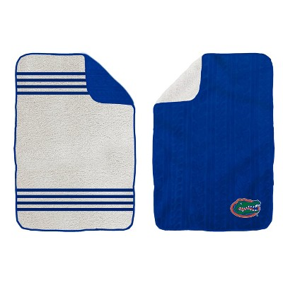 NCAA Florida Gators Cable Knit Embossed Logo with Sherpa Stripe Throw Blanket
