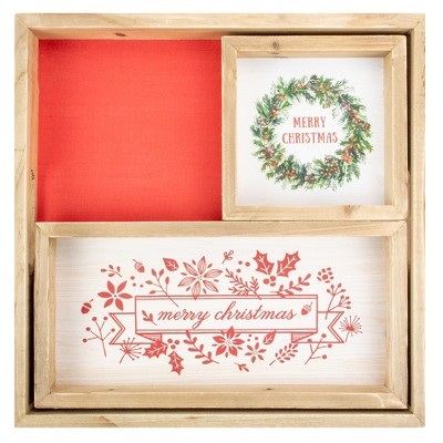 """Northlight Set of 3 Merry Christmas Wood Plaques and Serving Tray with Handles 16"""""""