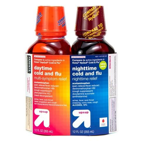 Day/Night Cold & Flu Multi-symptom Relief Liquid - Cherry - 12 fl oz/2pk - Up&Up™ - image 1 of 4