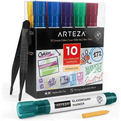 Arteza Glassboard Markers, Assorted Colors, Set of 10