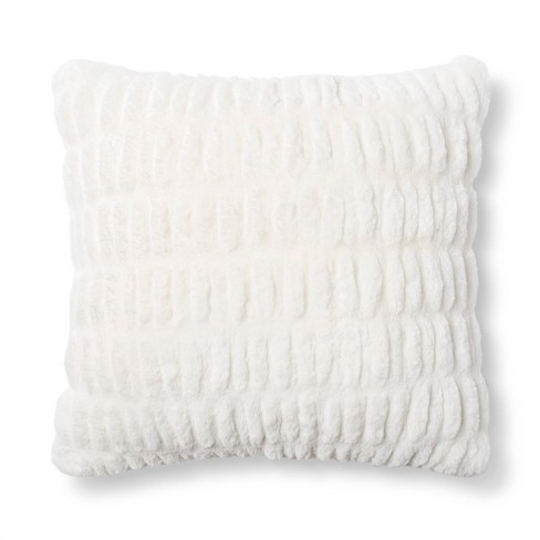 Cream Faux Fur Square Throw Pillow - Fieldcrest® - image 1 of 1