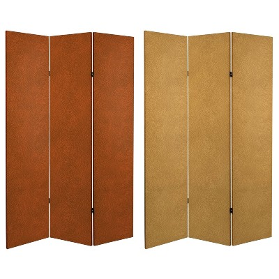 """6"""" Double Sided Leather Pattern Print Canvas Room Divider Beige - Oriental Furniture"""
