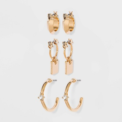 Huggie Charm and Stud Hoop Trio Earrings- A New Day™ Gold