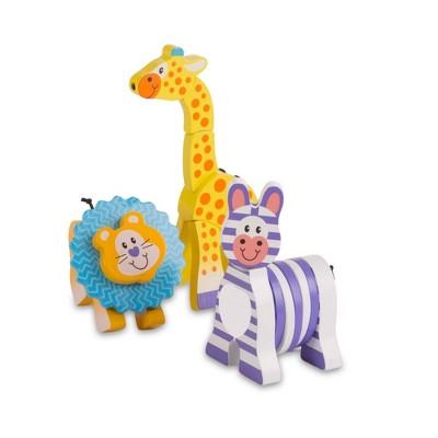 Melissa & Doug First Play Set of 3 Safari Animal Wooden Grasping Toys