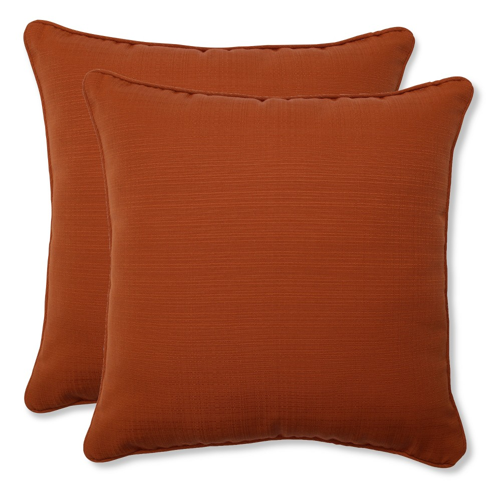 Outdoor 2-Piece Square Toss Pillow Set - Burnt Orange Fresco Solid, Brnt Org Sld