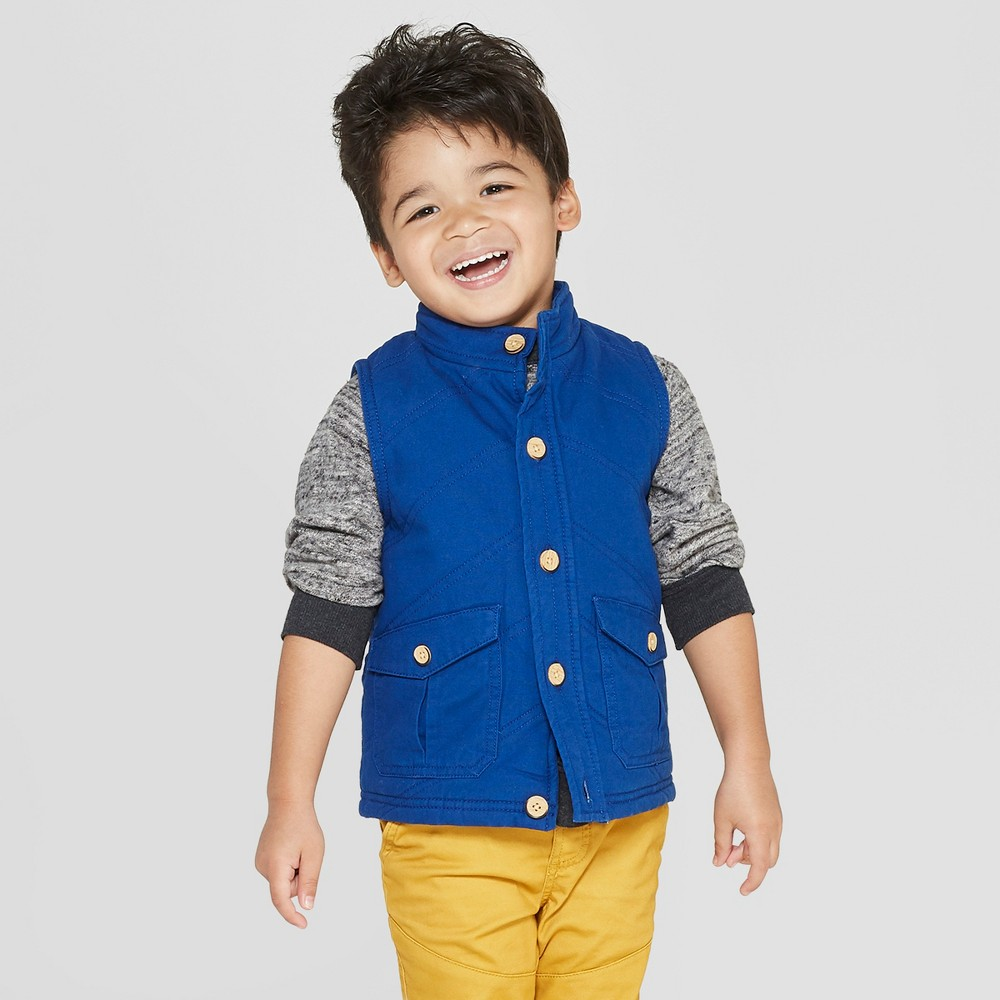 Image of Genuine Kids from OshKosh Toddler Boys' Canvas Quilted Vest - Blue 12M, Toddler Boy's
