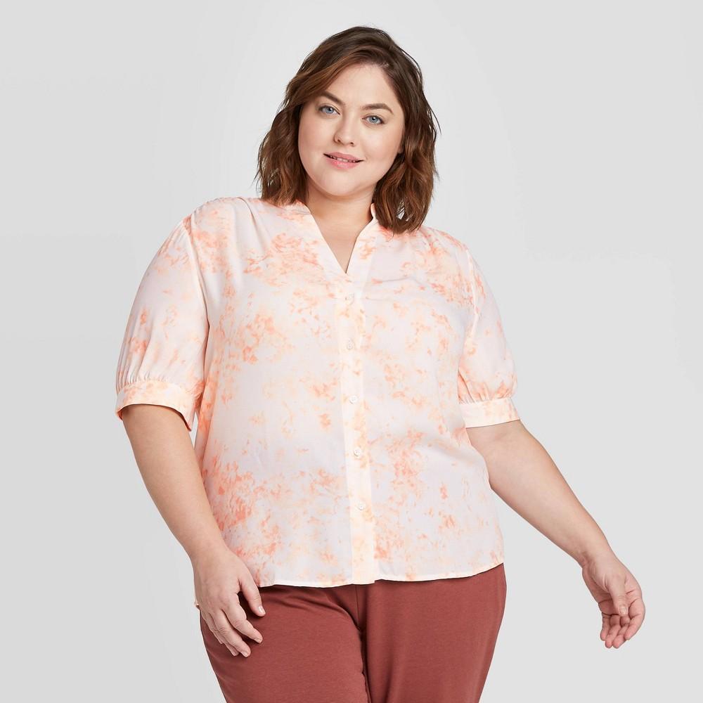 Women's Plus Size Floral Print Short Sleeve Tie-Dye Button-Front Blouse - Ava & Viv Pink 4X, Women's, Size: 4XL was $24.99 now $17.49 (30.0% off)