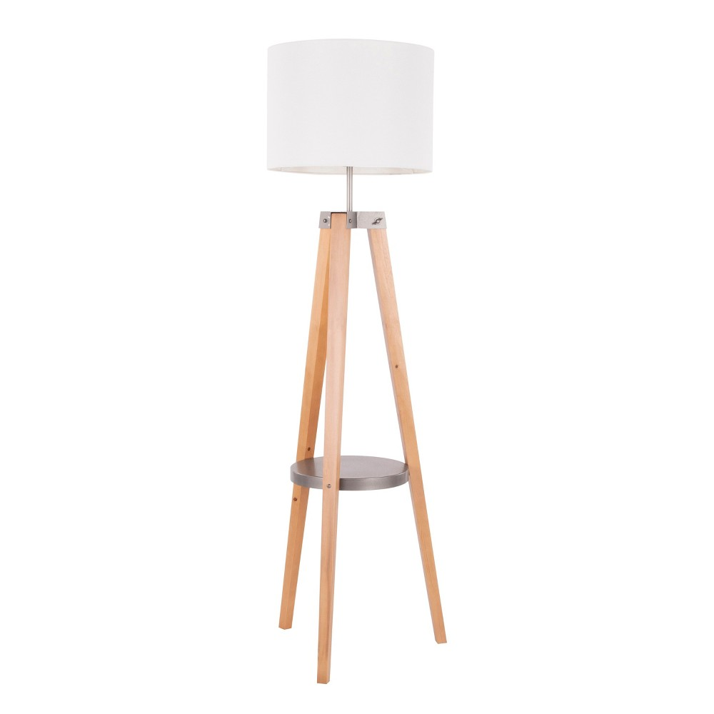 Image of Compass Mid - Century Modern Floor Lamp with Shelf Natural (Lamp Only) - LumiSource