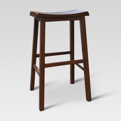 "2pk 29"" Trenton Saddle Seat Barstool Walnut - Threshold™"