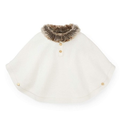 Hope & Henry Girls' Sweater Cape with Faux Fur Collar, For Toddlers