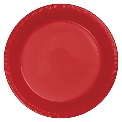 "Classic Red 9"" Plastic Plates - 20ct"