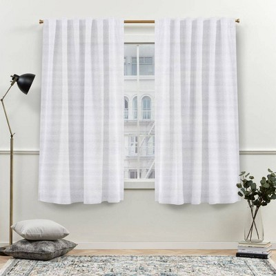 Set of 2 Nicole Miller Faux Linen Slub Textured Hidden Tab Top Curtain Panels White - Nicole Miller