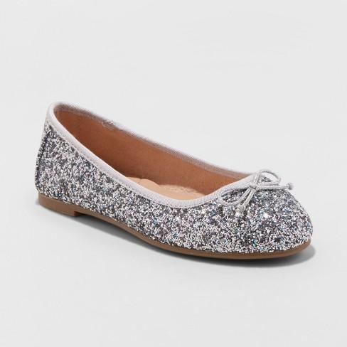Girls' Lesley Glitter Metallic Ballet Flats - Cat & Jack™ Silver 3 - image 1 of 3