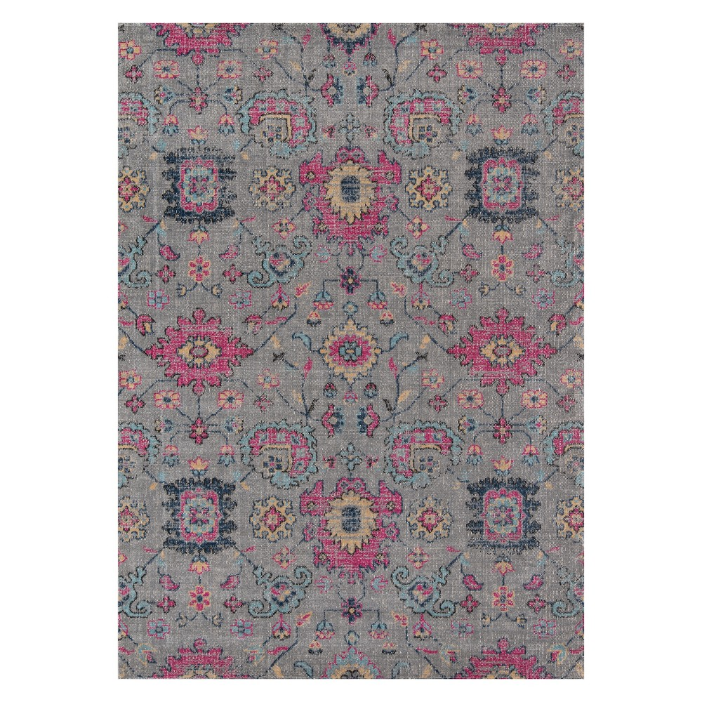 9'X12' Floral Loomed Area Rug Gray - Momeni
