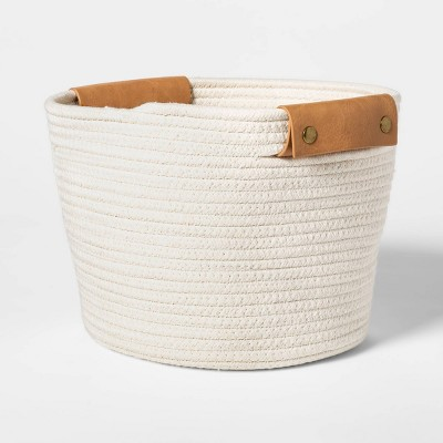 "11"" Decorative Coiled Rope Square Base Tapered Basket Medium White - Threshold™"