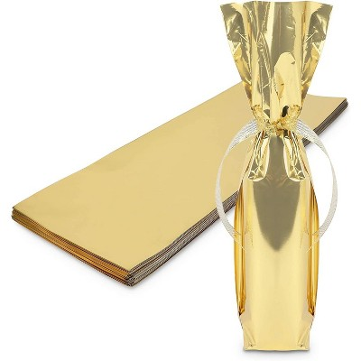 """Sparkle and Bash 100-Pack Metallic Gold Foil Wine Bottle Gift Wrapping Bags, 6.25"""" x 17.5"""""""