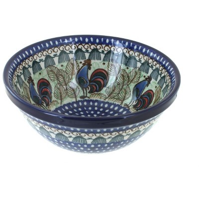 Blue Rose Polish Pottery Rooster Row Cereal/Soup Bowl