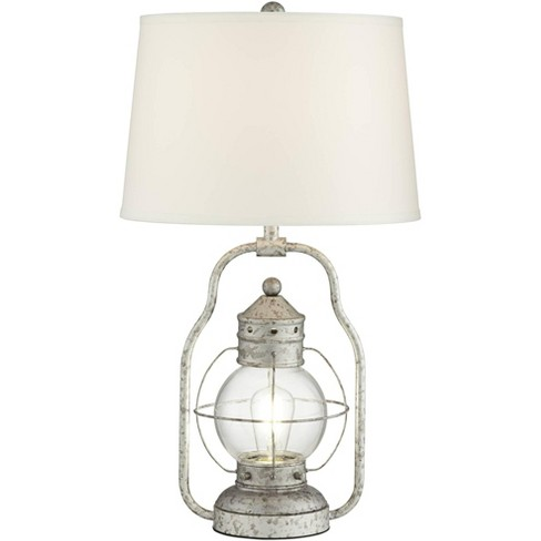 Franklin Iron Works Rustic Industrial Table Lamp With Usb Port Nightlight Led Distressed Silver Off White Linen Shade For Bedroom Target