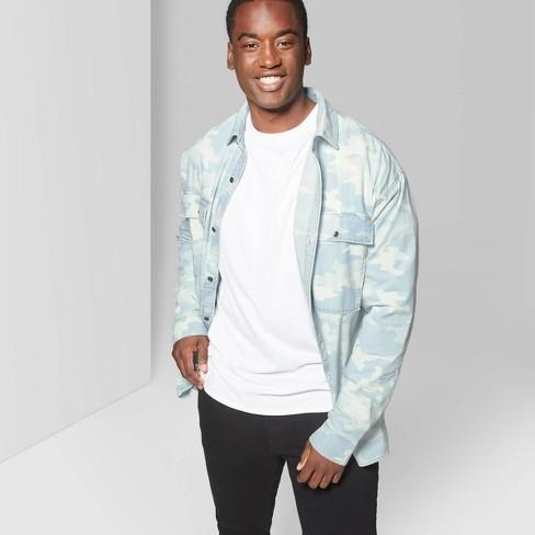 Men's Big & Tall Camouflage Long Sleeve Button-Down Shirt - Original Use™ Light Indigo - image 1 of 3