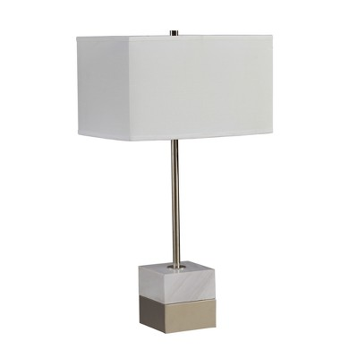 Carrera Marble and Metal Table Lamp Silver 17  x 30.5  (Lamp Only)