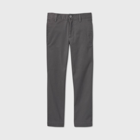 Boys' Flat Front Stretch Uniform Straight Fit Pants - Cat & Jack™ Charcoal Gray - image 1 of 3