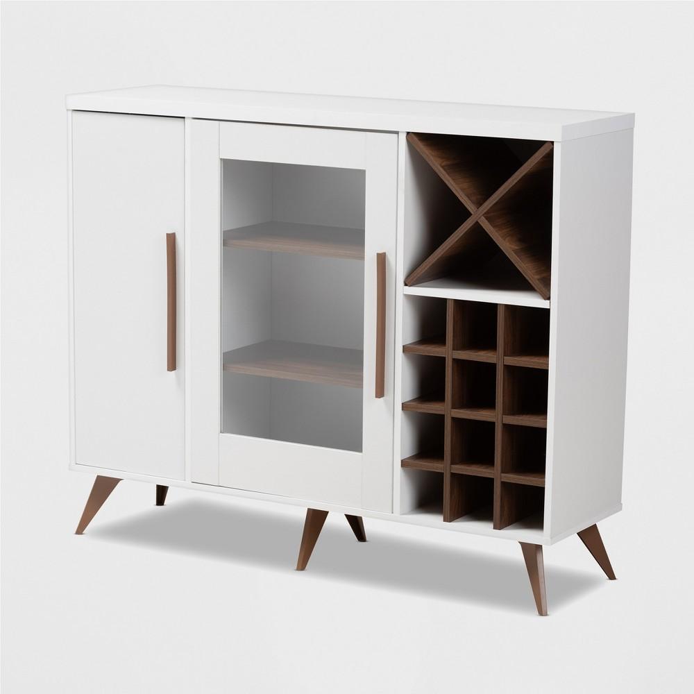 Pietro Finished Wine Cabinet White/Brown - BaxtonStudio