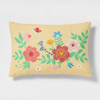 Lumbar Embroidered and Printed Floral Easter Pillow Yellow - Spritz™