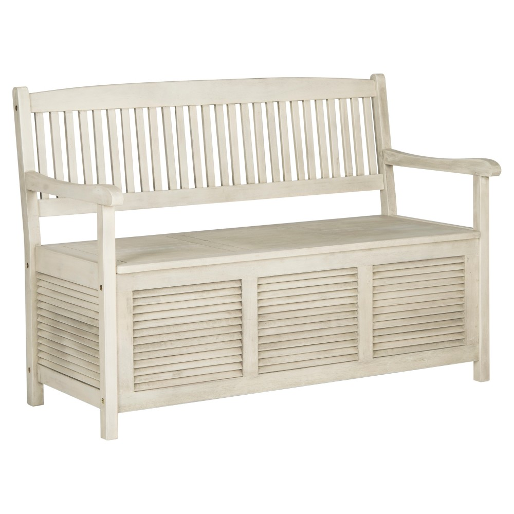 Brisbane Storage Bench - Distressed / White - Safavieh, Beige