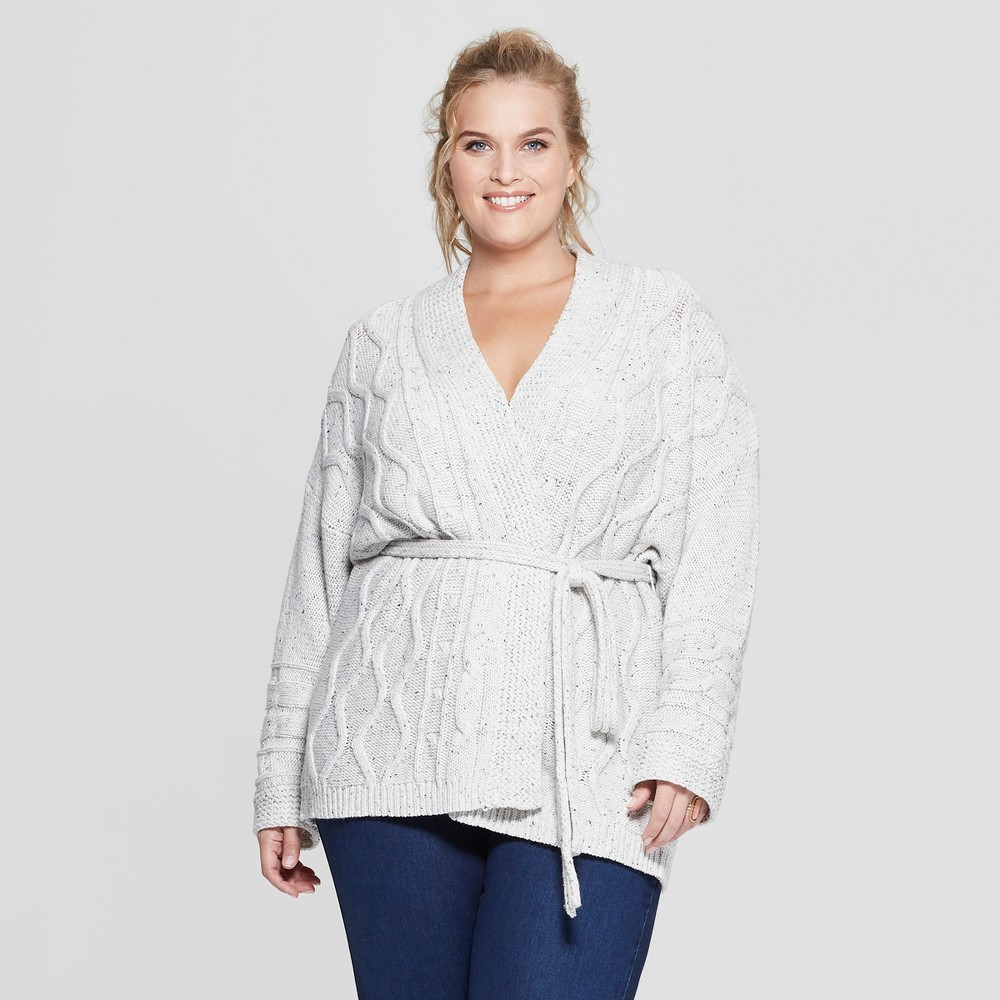 Women's Plus Size Long Sleeve Cable Wrap Sweater - Universal Thread Cream (Ivory) 3X