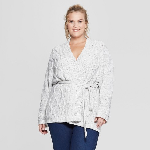 Women's Plus Size Long Sleeve Cable Wrap Sweater - Universal Thread™ - image 1 of 3