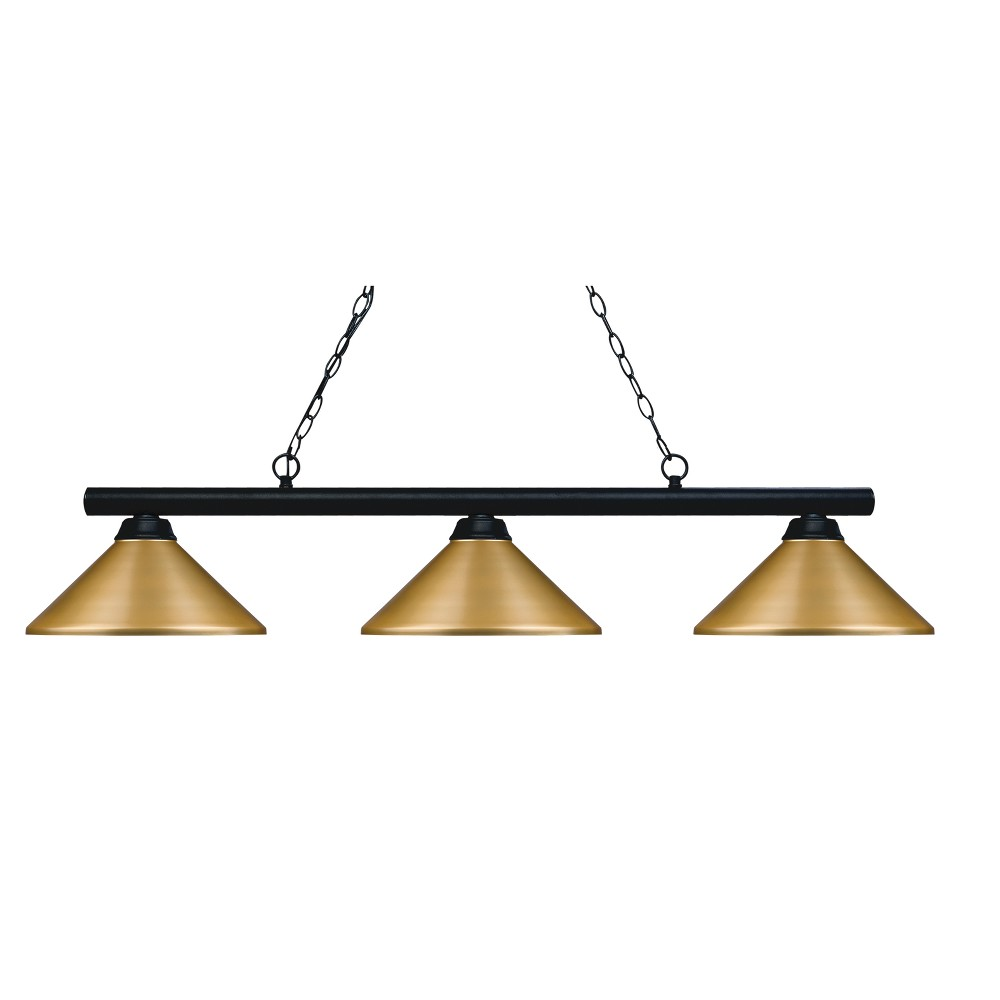 Billiard Ceiling Lights with Satin Gold Glass (Set of 3) - Z-Lite