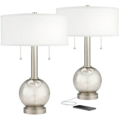 Possini Euro Design Modern Table Lamps Set of 2 with USB Port Nickel Mercury Glass White Drum Living Room Bedroom House Bedside