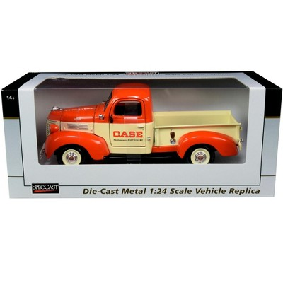 """1941 Plymouth Pickup Truck """"Case"""" Orange and Yellow 1/24 Diecast Model Car by SpecCast"""