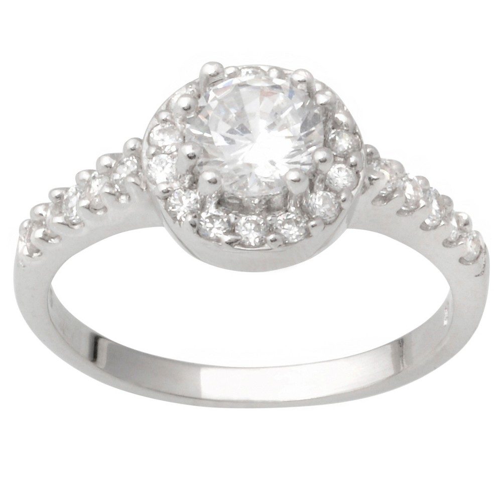 7/8 CT. T.W. Round-cut Cubic Zirconia Halo Bridal Basket Set Ring in Sterling Silver - Silver, 5, Girl's