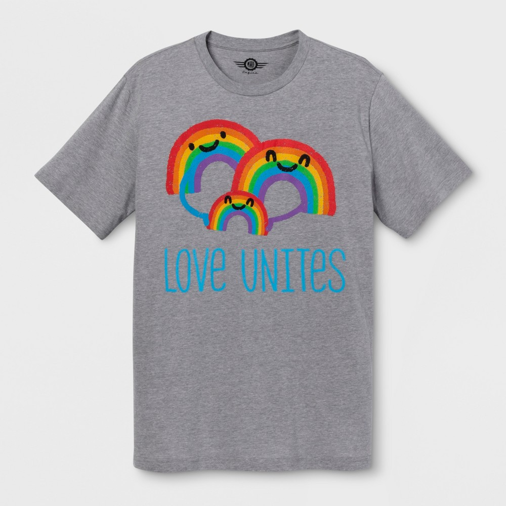Pride Adult Extended Size Short Sleeve Love Unites T - Shirt - Heather 4XL, Men's, Gray
